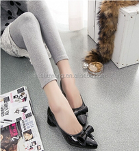 Fashion new single shoes coarse with high school with lady shoes pointed bow for women's shoes