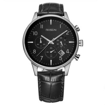 Stainless steel men's watch Genuine leather strap