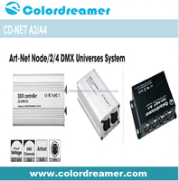 RJ45 Ethernet connect 2/4 universe DMX 512 channel artnet dmx controller,easy install for event dmx controller