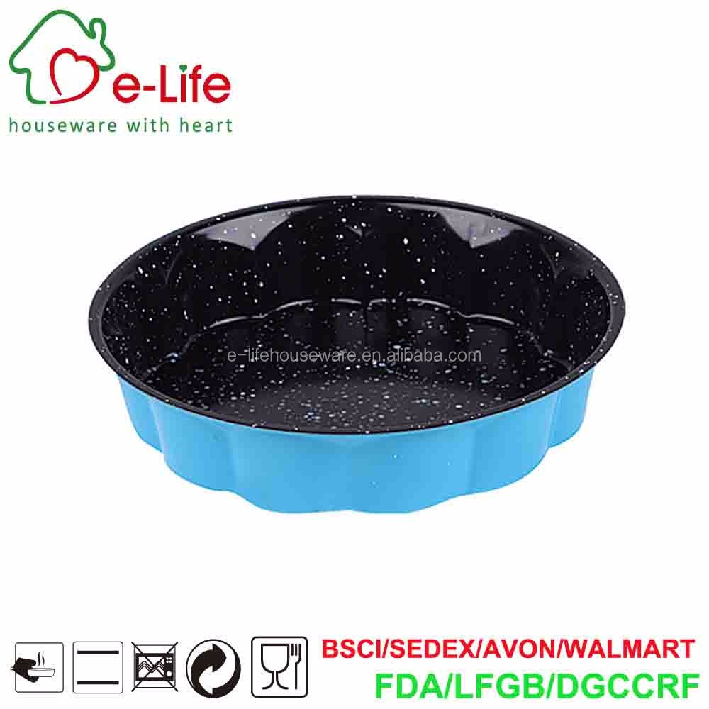 "Wavy 10"" Round Cake Baking Pan Made of Non-Stick Stone Coated Carbon Steel for Home Oven Use"