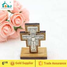 A&J San Damiano Wooden Standing Cross,car stand wooden cross,stand crucifix