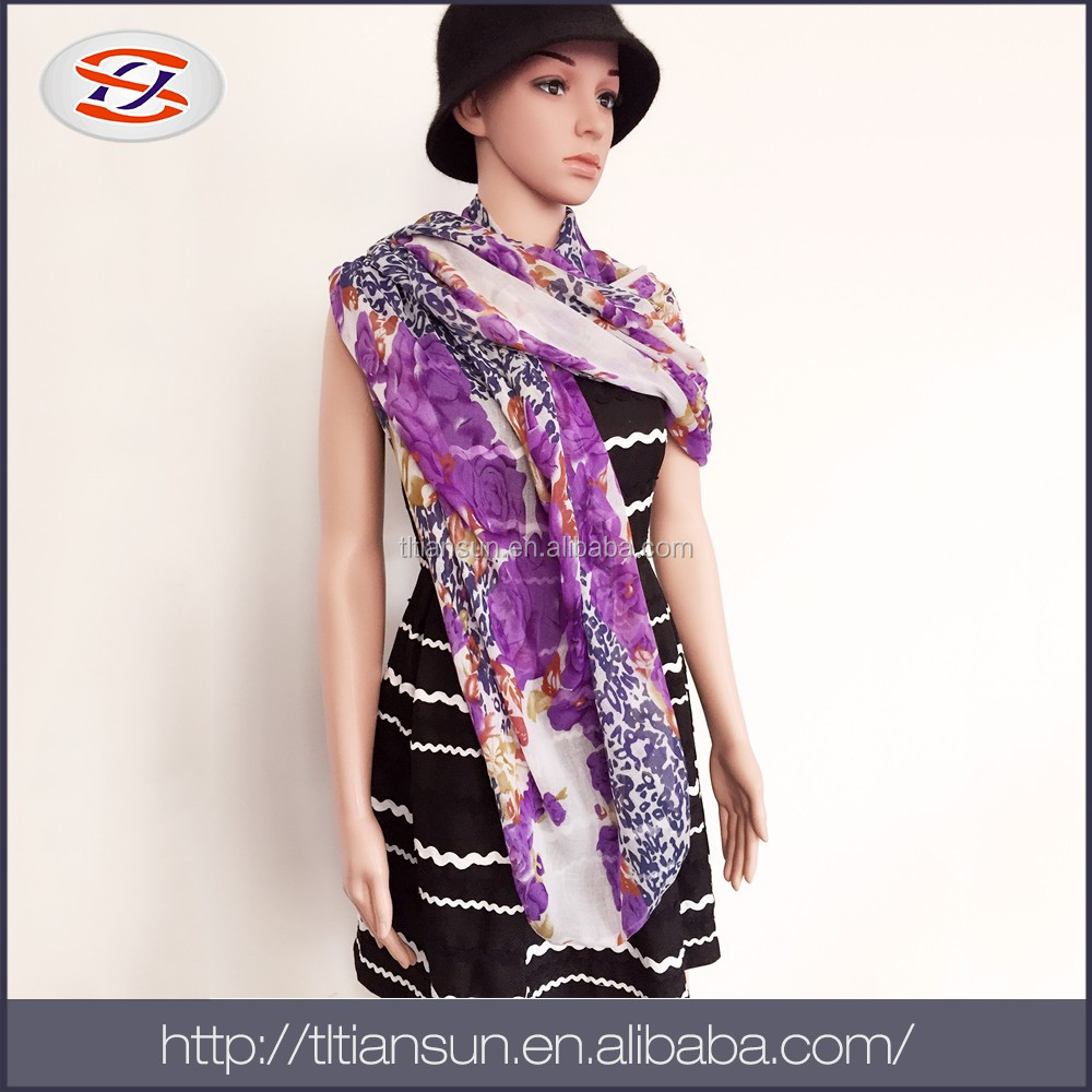 Custom & Wholesale Fashion Brand Digital Print Satin Silk Feel Scarf