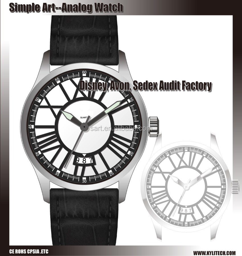 High grade genuine leather wrist watch business men bracelet stainless steel