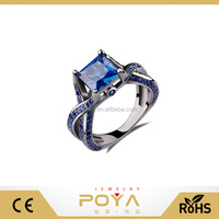 POYA Jewelry 2.0ct Princess Cut Created Blue Sapphire Engagement Ring 14k Black Gold Plating Sterling Silver 925 Ring