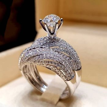 Accept Custom Silver Sterling 925 Top Quality Luxury 2pcs/set Gemstone CZ Diamond Ring Set Wedding Party Rings For Women B2445