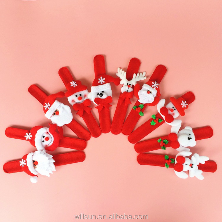 cheap hot sale Random Pattern Santa Claus Slap Bracelet Xmas Christmas Wristband Snowman Gift Party Decor Pat Hand Circle