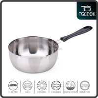 Stainless steel cooking pot frying pans with single bakelite handle