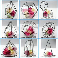 2016 fashion rose gold color brass frame geometrical glass terrarium
