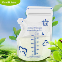 realbubee 250ml liquid double zipper ldpe bpa free safely disposable breast milk storage bag