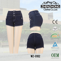 CWL-1829M Women dark blue fashion clothes deep wash mid waist jeans short denim jeans online clothes shopping