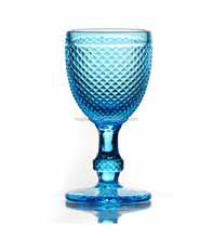 Colored Etched Wholesale Embossed Goblet Pressed Heavy Crystal Cobalt Blue Wine Glass