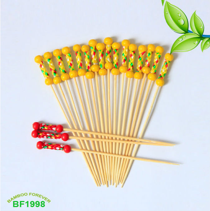 Wooden party fruit picks with double yellow balls 15cm