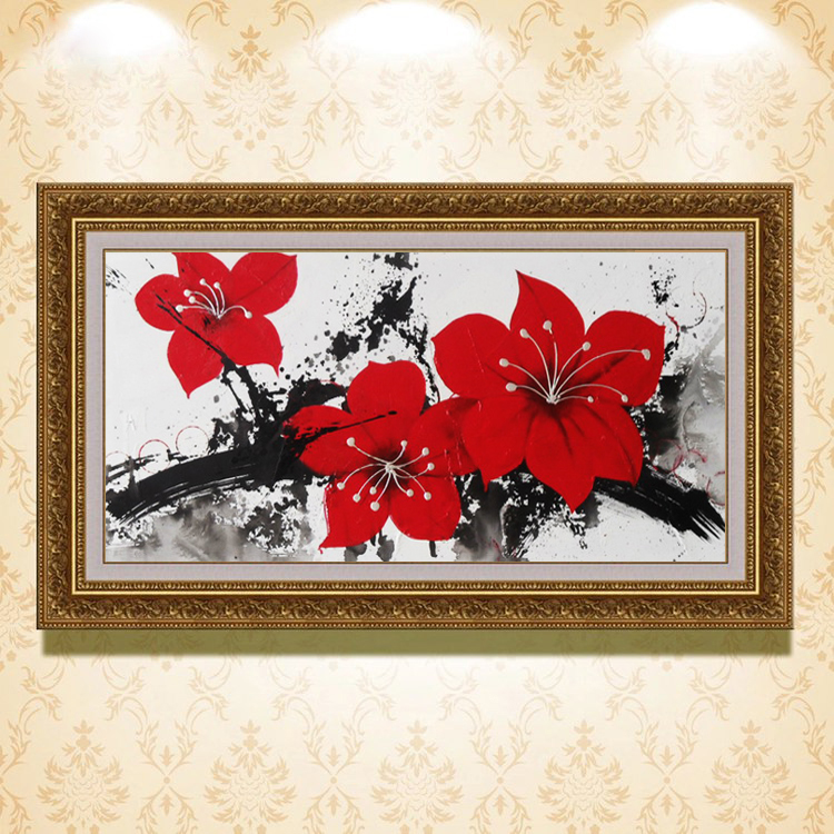 Modern home decoration factory supply hand painted flower oil painting wz-278