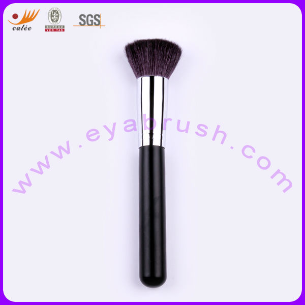 Square Flat Nature Hair Matt Black Wood Handle Individual Blush Brush