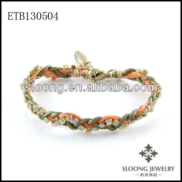 Designer Style Leather Orange Cord Dainty Crystals Rhinestone Combination Braided Bracelet in Metallic Tota