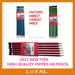 "HOT 7"" Hexagonal three color HB Pencil with top dipped"