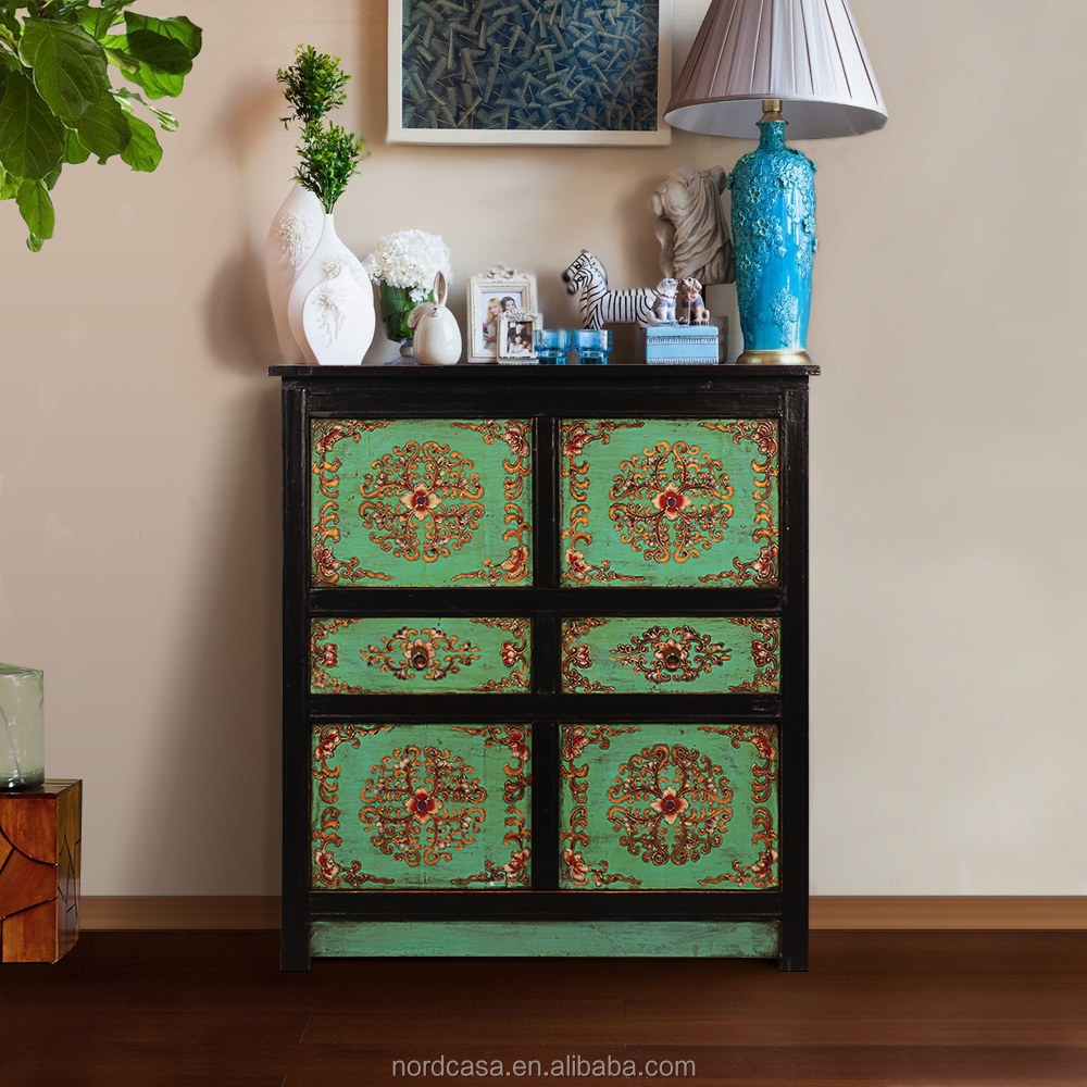 Chinese Antique Furniture Solid Wood Painted Sideboard Cabinet