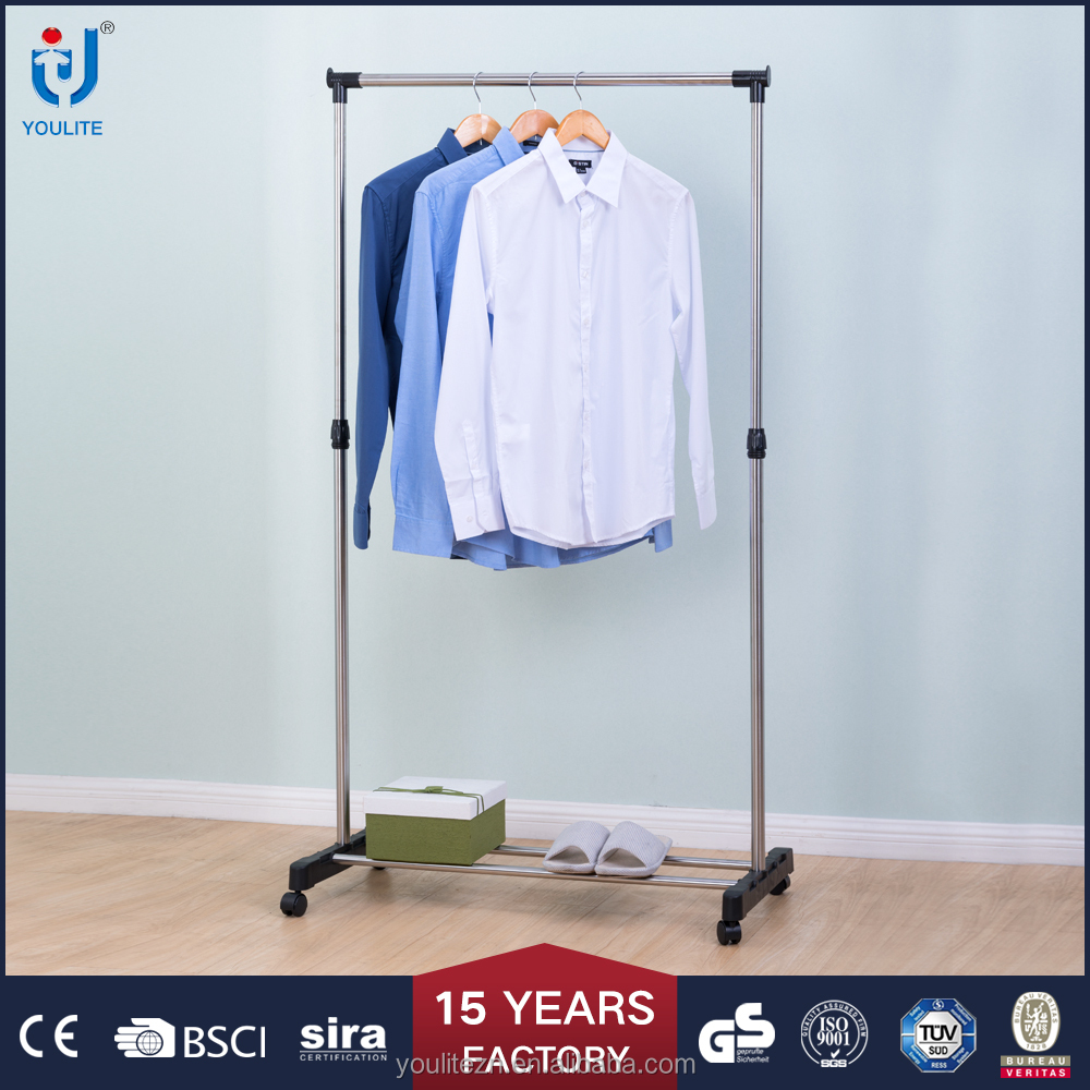 Modern portable bedroom single pole hanging clothes rack
