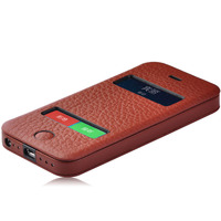 top layer/ Full grain leather/ genuine real Leather Wallet Case cover For iphone 5,5s