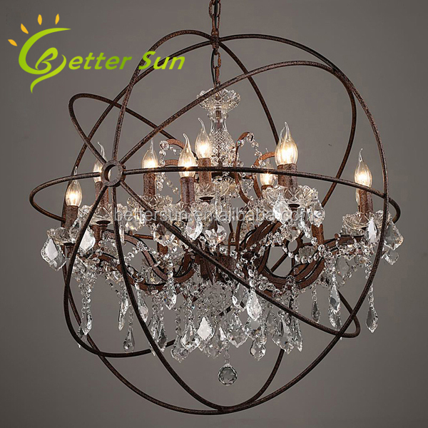 Middle Size Rustic Iron Orb Caged Crystal Chandelier