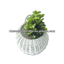 White woven willow flower pot hanging rattan planter for wall decoration