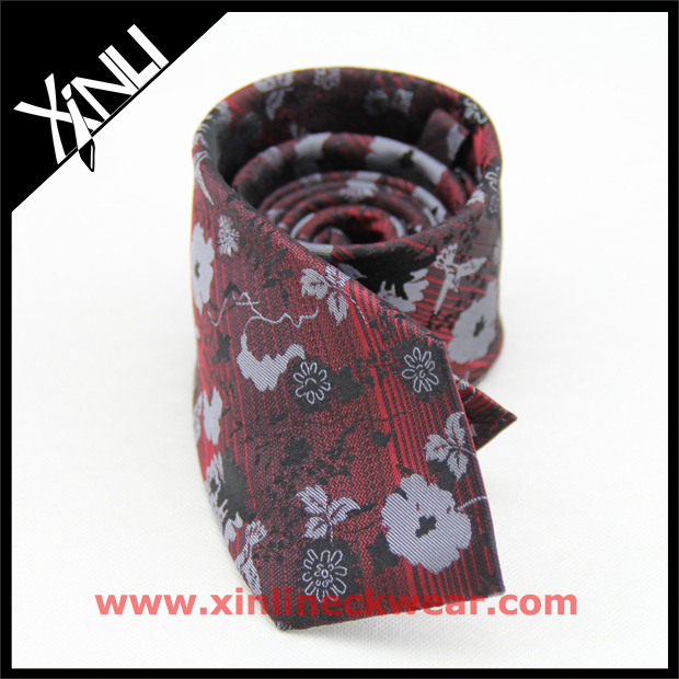 Wholesale Private Label Flower on Stripe Design Men's Silk Ties