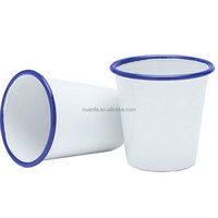 Enamelware Solid White with custom Multicolor rim Short Camping Enamel Tumbler cups