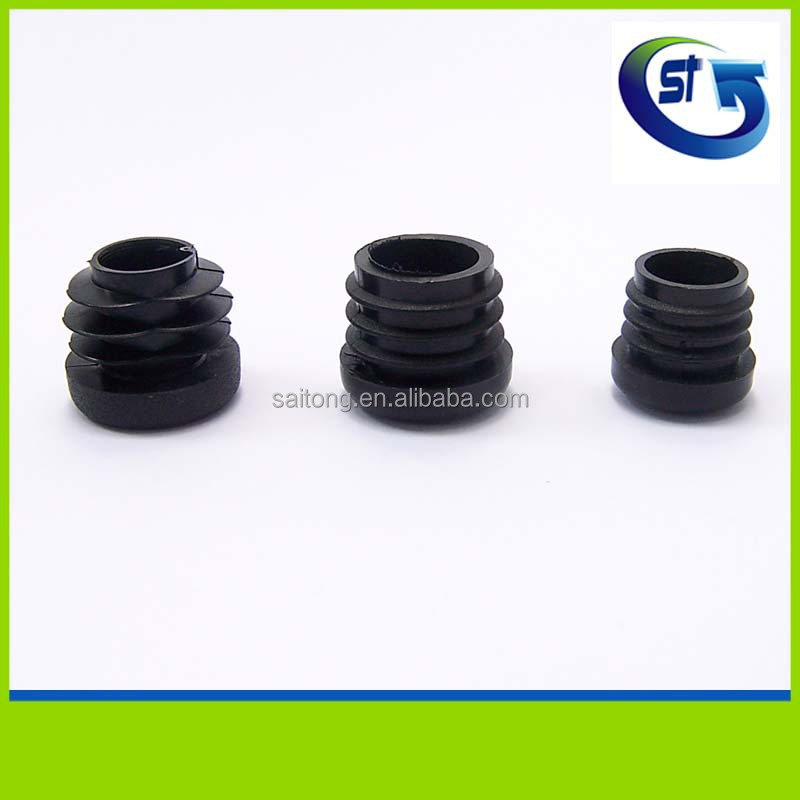 Various size tube pipe post end protect plastic end caps with threads