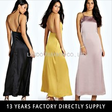 Silk slip satin dress styles Strappy Backless ladies long custom maxi dress