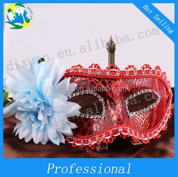 Fancy dress party cloth yarn translucent lace brought flowers and a half side face masks