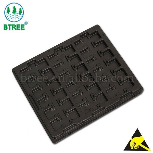 BTREE black PS vacuum formed electronic component tray