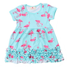 Western Style Toddler Girl Lap Frocks Wholesale Baby Flamingo Pattern Ruffle Dress