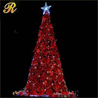 New vivid red design Christmas led light tree with top big star