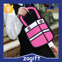 ZOGIFT new design 2D cartoon bag,2D comic bag,creative 2D bag