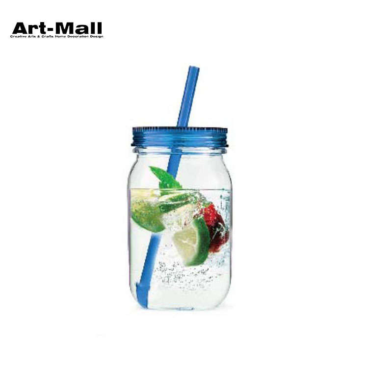 Wholesale mason drinking mug glass jar with handle and straws