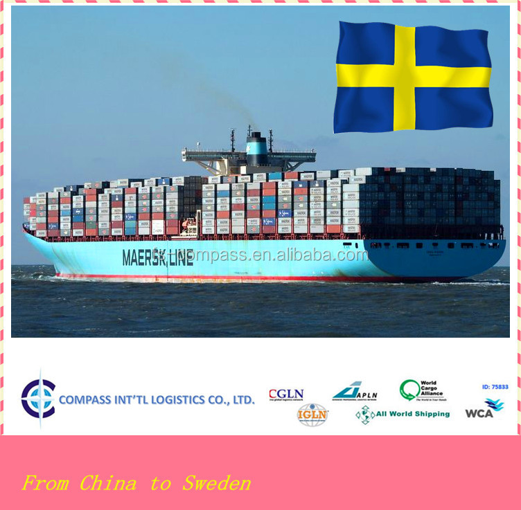 China cheap courier fee discount courier service sea shipping to SOLVESBORG port of Sweden