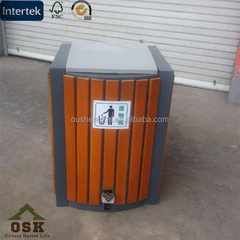eco friendly park dustbin collector wpc dustbin wood plastic composite made in china