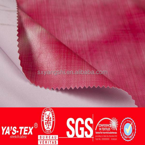 polyester spandex knit fabric bonded with TPU printed membrane for making light softshell jacket fabric