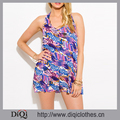 latest fashion designs pink and blue multicolor abstract ethnic print cut out backless boho romper playsuit jumpsuit