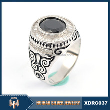 wholesale china AAA zircon 925 sterling silver man black stone square ring