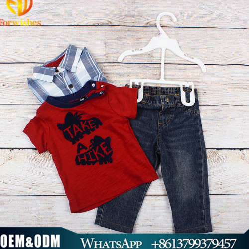 Spring & summer boy outfit wear 3pcs clothes set boys stripe shirt+T-shirt+ denim pants clothes set
