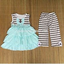 2015 baby girls kids grey stripes multi-layers dress and stripe pant outfits kids knit cotton clothes sets girls summer wear set