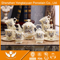 Chinese retail luxury diamond design porcelain tea coffee set