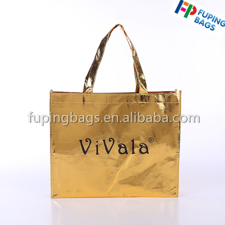 OEM Factory Women Laser Film Laminated Non Woven Shopping Carry Promotional Tote Bag