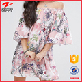 new model Stretch bardot neck Fluted sleeves All Over floral Printed Smock ropa mujer Off Shoulder Dress for women