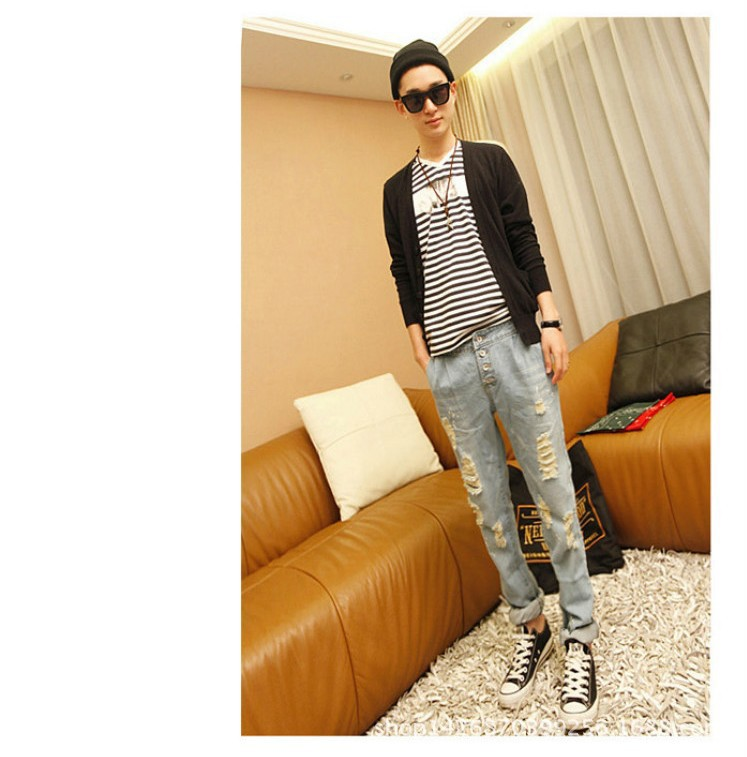 Hole Ripped Jeans Men Korean Skinny Jeans Denim Male Pants Vintage Fashion Brand Designer Jeans True Cool Hole Ripped Jeans
