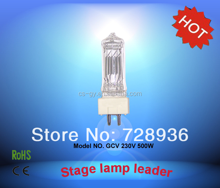 China wholesale Theater lamp 230V ceramic base halogen lamps GCV 500W GY9.5