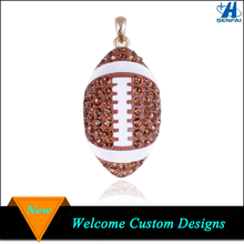 Gold Tone Enameled Rhinestone Football Charms Wholesale Crystal Football Charms
