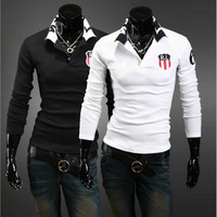 100% cotton solid color customized owned logo long sleeve men t shirt embroidery logo men polo shirt