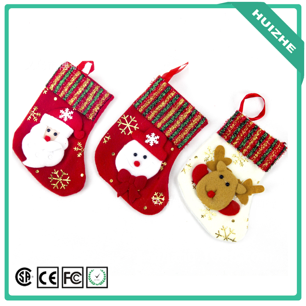 Christmas Decoration Children Gift Candy Shoes Santa Hanging Socks with Party Accessories